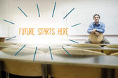 Future starts here against lecturer sitting in lecture hall — Stock Photo