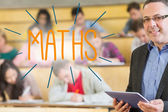 Maths against lecturer standing in front of his class in lecture hall — Stock Photo