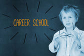 Career school against schoolboy and blackboard — Stock Photo