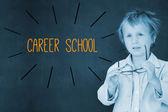 Career school against schoolboy and blackboard — Stock Photo