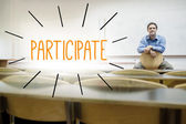 Participate against lecturer sitting in lecture hall — Stock Photo