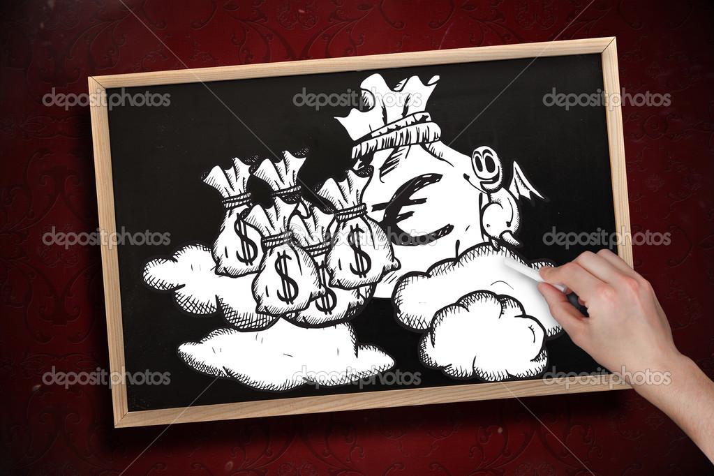 手绘与木框架的黑板上用粉笔的钱袋子的复合图像 — 照片作者 wave