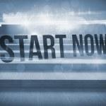 Start now! against steps against blue sky — Stock Photo