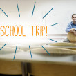 School trip! against lecturer sitting in lecture hall — Stock Photo #44892529