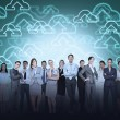 Business team against cloud computing — Stock Photo