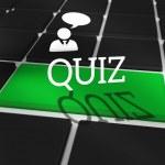 Quiz against black keyboard — Stock Photo
