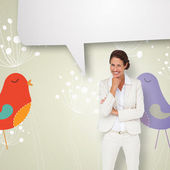 Businesswoman with speech bubble — Stock Photo