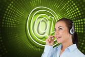 Symbol and call centre worker — Stock Photo