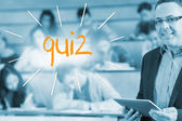 Quiz against lecturer standing in front of his class in lecture hall — Stock Photo