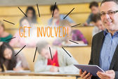 Word get involved against lecturer — Stock Photo