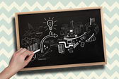 Hand drawing brainstorm with chalk — Stock Photo