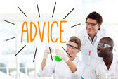 Advice against scientists working in laboratory — Stock Photo