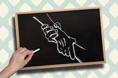 Hand drawing handshake with chalk — Stock Photo