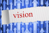 Vision against futuristic arrow pointing upwards — Stock Photo
