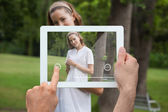 Hand holding tablet pc — Stock Photo