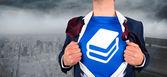 Businessman opening his shirt superhero style — Stock Photo