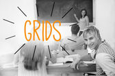 Grids against students in a classroom — Stock Photo