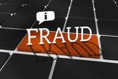 Fraud against black keyboard — Stock Photo
