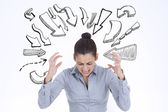 Furious businesswoman gesturing — Stock Photo