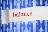 Balance against futuristic arrow pointing upwards — Stock Photo