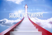 Social networks against red steps arrow pointing up against sky — Stock Photo