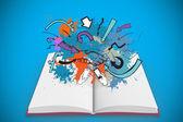 Paint splashes on open book — Stock Photo