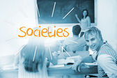 Societies against students in a classroom — Stock Photo