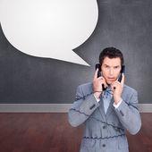 Empresario enredar en los cables de teléfono — Foto de Stock