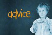 Advice against schoolboy and blackboard — Stock Photo