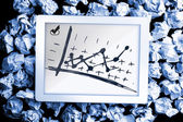 Data analysis doodle on digital tablet on crumpled paper — Stock Photo