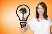 Ampoule dessin de femme d'affaires — Photo