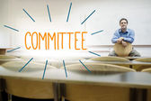 Committee against lecturer sitting in lecture hall — Stock Photo