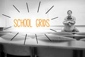 School grids against lecturer sitting in lecture hall — Stock Photo