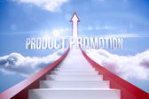 Product promotion against red steps arrow pointing up against sky — Stock Photo