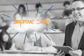 Improve skills against lecturer standing in front of his class in lecture hall — Stock Photo
