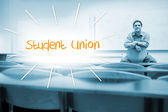Student union against lecturer sitting in lecture hall — Stock Photo