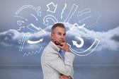 Thinking businessman — Stock Photo
