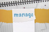 Manage against digitally generated notepad with lined paper — Stock Photo
