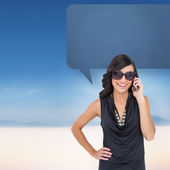 Brunette phoning with speech bubble — Stock Photo