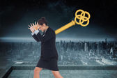 Wound up businesswoman gesturing — Stock Photo