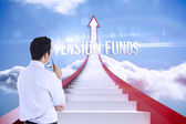 Pension funds against red steps arrow pointing up against sky — Stock Photo