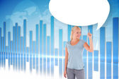 Woman pointing with speech bubble — Stock Photo