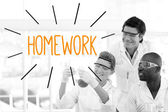 Homework against scientists working in laboratory — Stock Photo