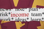 Income against wine paper strewn over orange — Stock Photo