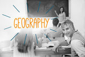 Geography against students in a classroom — Stock Photo