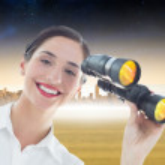 Business woman with binoculars — Stock Photo #44901533