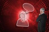 Businessman and speech bubble — Foto de Stock