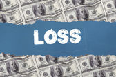 Loss against digitally generated sheet of dollar bills — Stock Photo