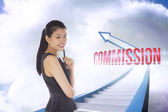 Commission against red staircase arrow pointing up against sky — Stock Photo