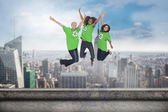 Environmental activists jumping — Stock Photo